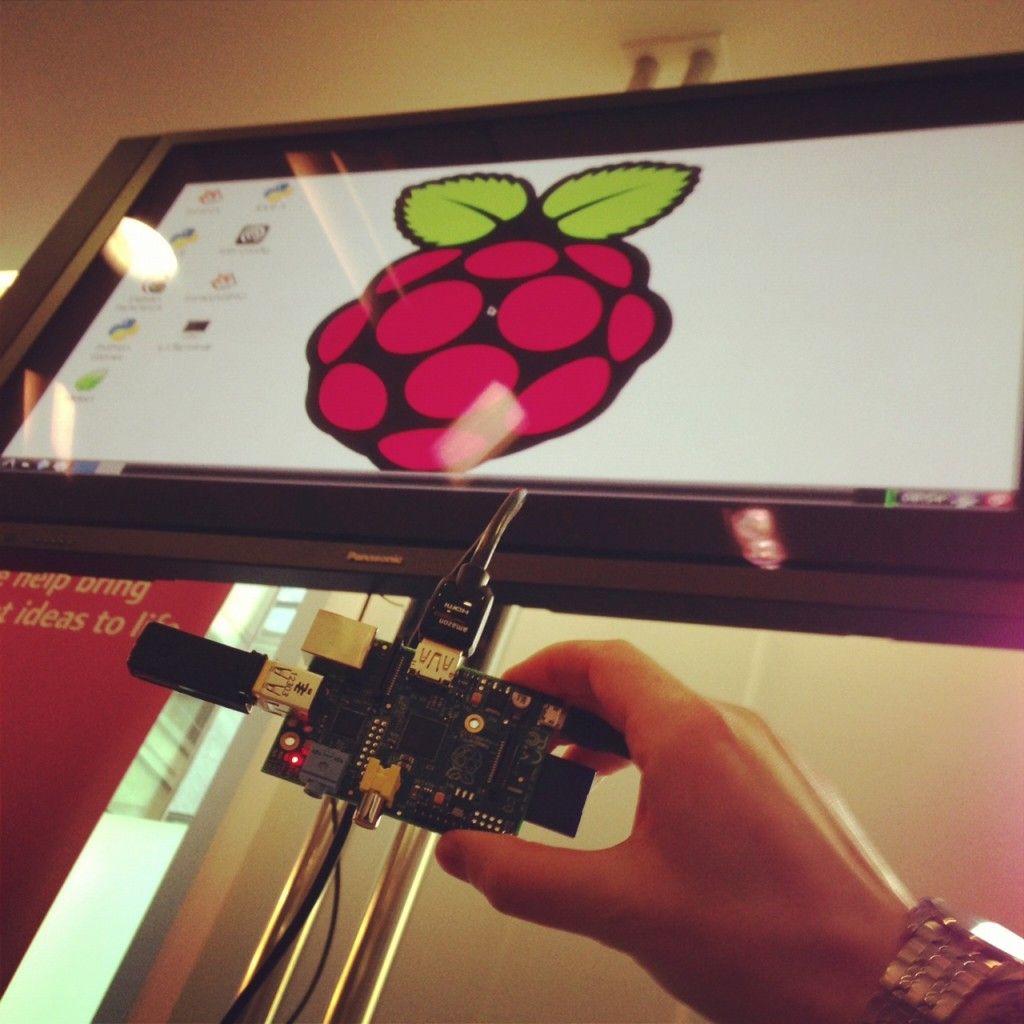 A Raspberry Pi connected to a TV